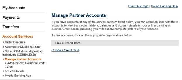 AccountPlus Figure showing Collabria Credit Card signin information.
