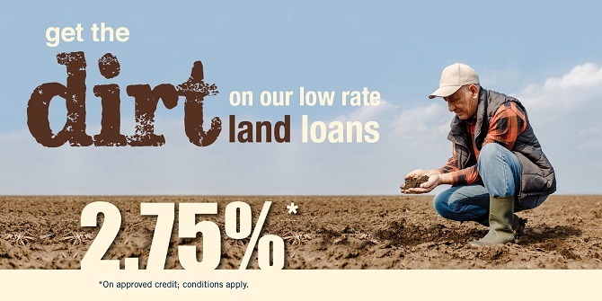 Agricultural loan rates as low as 2.75%.